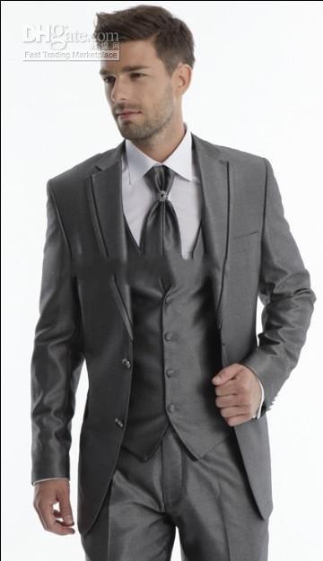Hot Dark Grey Notch Lapel Wool Groom Tuxedos Top Quality Men's ...