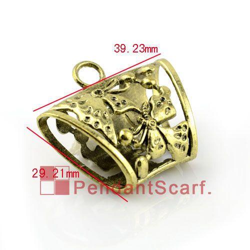 12 PÇS / LOTE, Top Moda DIY Jóias Cachecol Acessórios de Bronze Antigo Liga de Zinco Borboleta Design Slide Tubo Bills, Frete Grátis, AC0056B