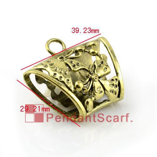 12 pz / lotto, top fashion gioielli fai da te accessori sciarpa bronzo antico in lega di zinco disegno a farfalla barre del tubo di scorrimento, spedizione gratuita, AC0056B