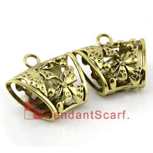 / Top Mode DIY Bijoux Écharpe Accessoires Bronze Antique En Alliage de Zinc Papillon Conception Glissière Tube Bails, Livraison Gratuite, AC0056B