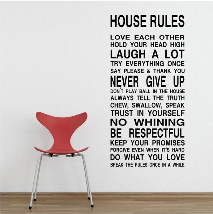 HOUSE RULES Art Words Motto Poem Vinyl Wall Sticker Decor Mural Decal With  Transfer Film Free Shipping