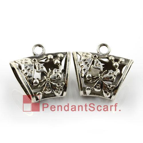 Hot Fashion DIY Jewellery Scarf Pendant Mental Zinc Alloy Butterfly Design Charm Slide Tube Bails, AC0056A