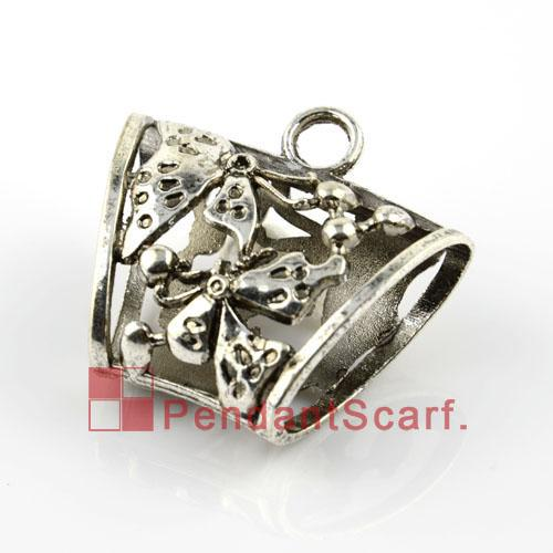 12PCS/LOT, Hot Fashion DIY Jewellery Scarf Pendant Mental Zinc Alloy Butterfly Design Charm Slide Tube Bails, Free Shipping, AC0056A