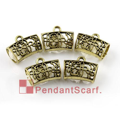 12 stks / partij, mode DIY Sieraden sjaal accessoires antieke brons vergulde zinklegering uitgeholde schuifbuis borgtocht, gratis verzending, AC0055b