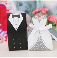 Wholesale Tuxedo Wedding Gift Bags - Bride and Groom Tuxedo and Gown Favor Holders Wedding Gift Bags Party Candy Boxes Supply 100pcs 50pairs free shipping