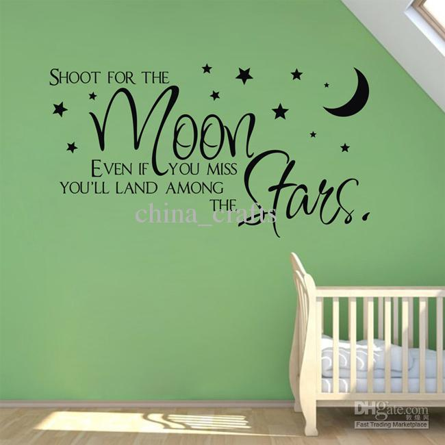 Kids Room Wall Quotes Sticker Moon And Stars Nursery Lettering Saying Wall  Art Decal 40x70cm Wall Art Stickers Sticker Wall Quotes Sticker Walls From  ... Part 77