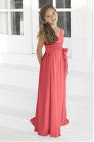 Wholesale Toddler Girl Bridesmaid Dresses - Red Flower Girl Dresses Chiffon Floor Length With Pleated Band and Tie at Waist Bridesmaid Party Dress