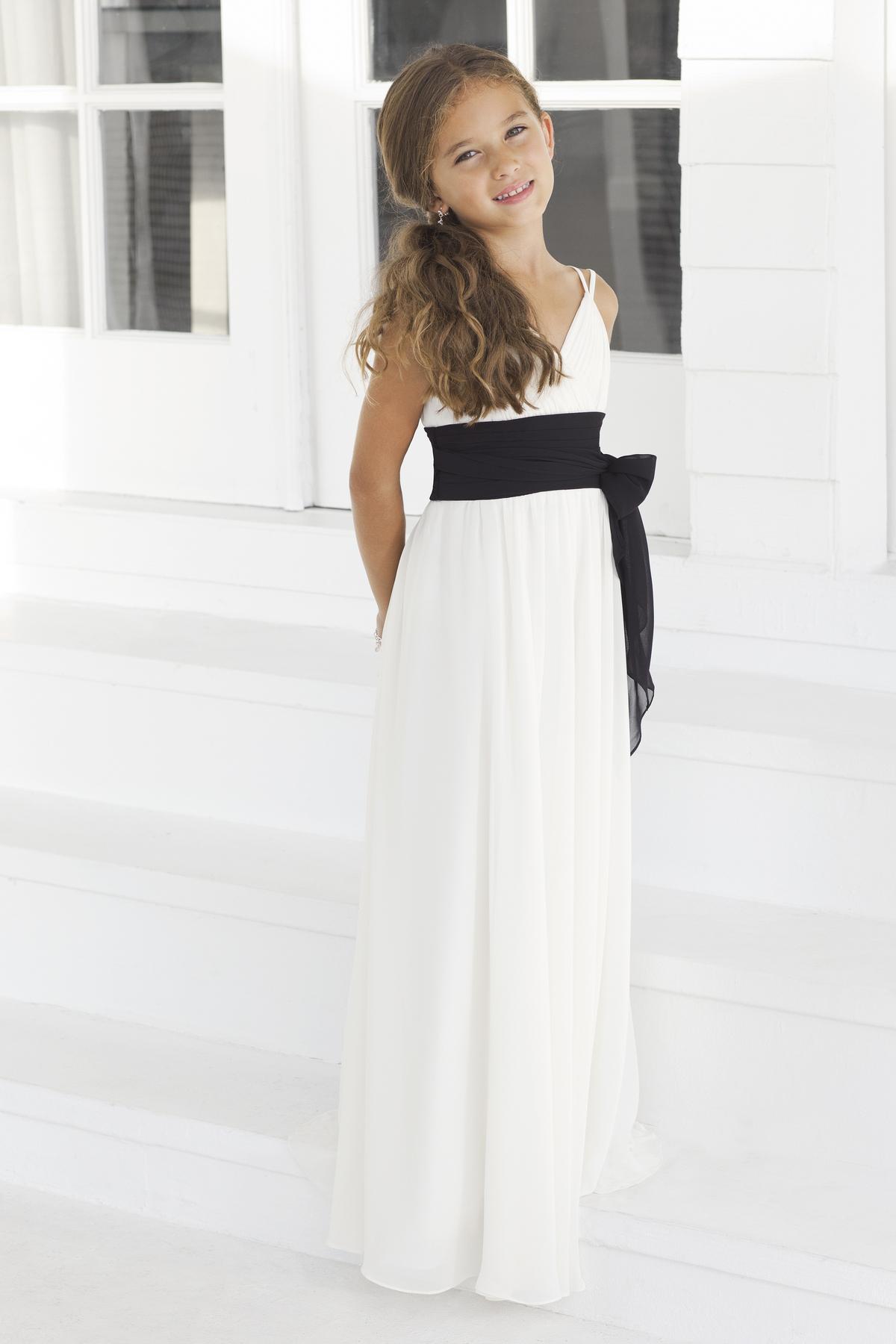 Großhandel Jr Brautjungfer Kleid Weiß Und Schwarz Mantel Knöchel ...