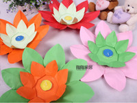 Wholesale Paper Lotus Flower Floating Candle - HOT SELL Paper Flower Lotus Wish Lantern Water Floating Candle Light Yellow Wishing Lamp lotus lamps