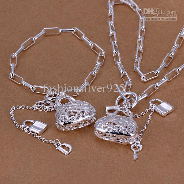 Wholesale - - Retail lowest price Christmas gift 925 silver Necklace+Bracelet set TS003