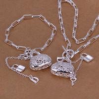 bracelet en argent au détail achat en gros de-Vente en gros - - Détail prix le plus bas cadeau de Noël Collier en argent 925 + Bracelet serti TS003