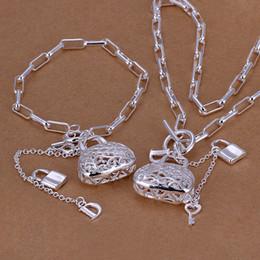 Einzelhandel silber armband online-Großverkauf - - niedrigster Preis des Kleinhandels Weihnachtsgeschenk 925 silberne Halskette + Armband stellte TS003 ein