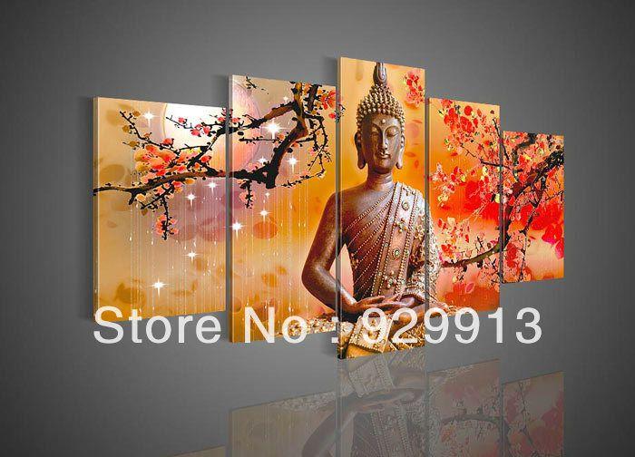 Framed 5 Panel 100% Handmade High End Amazing Large Wall Art Cherry ...
