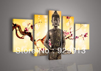 Wholesale High End Wall Art Panels - Framed 5 Panel 100% Handpainted High End Stunning Large Chinese Feng Shui Buddha Pictures Canvas Oil Painting Wall Art Pink Flower M1282