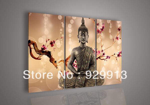 2018 Framed 3 Panels 100% Handpainted High End Huge Wall Art Feng ...