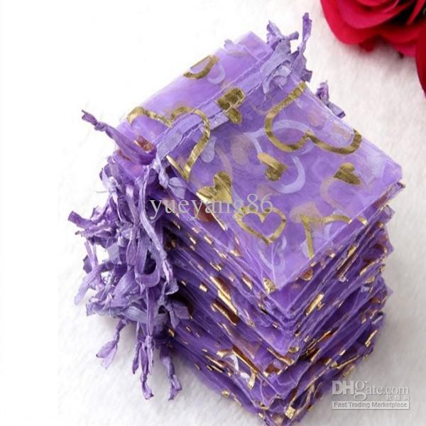 3 '' * 4 '' roxo Caixa De Jóias De Organza De Luxo Jóias Bolsas Presentes Sacos De Anel De Casamento Favor De Partido Sacos Bolsa com doce coração