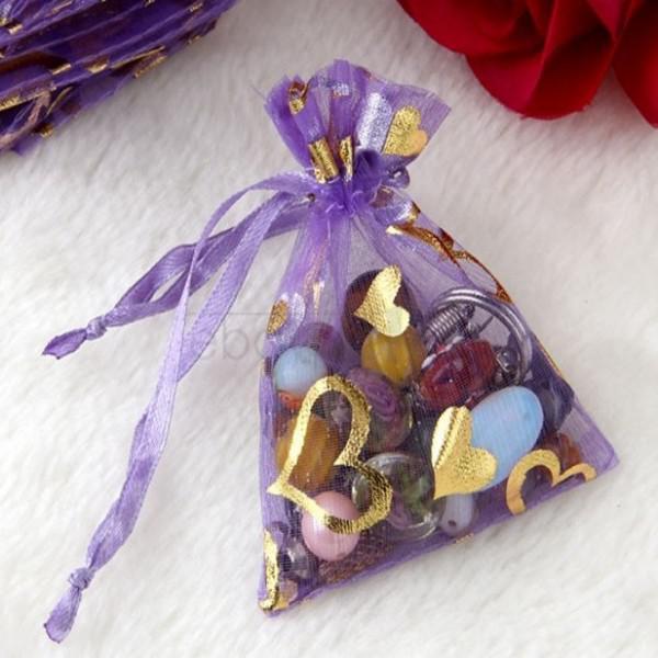 200 stks 3 '' * 4 '' paarse sieraden doos luxe organza sieraden pouches geschenken tassen voor ring bruiloft favoriet tassen zakje met zoet hart