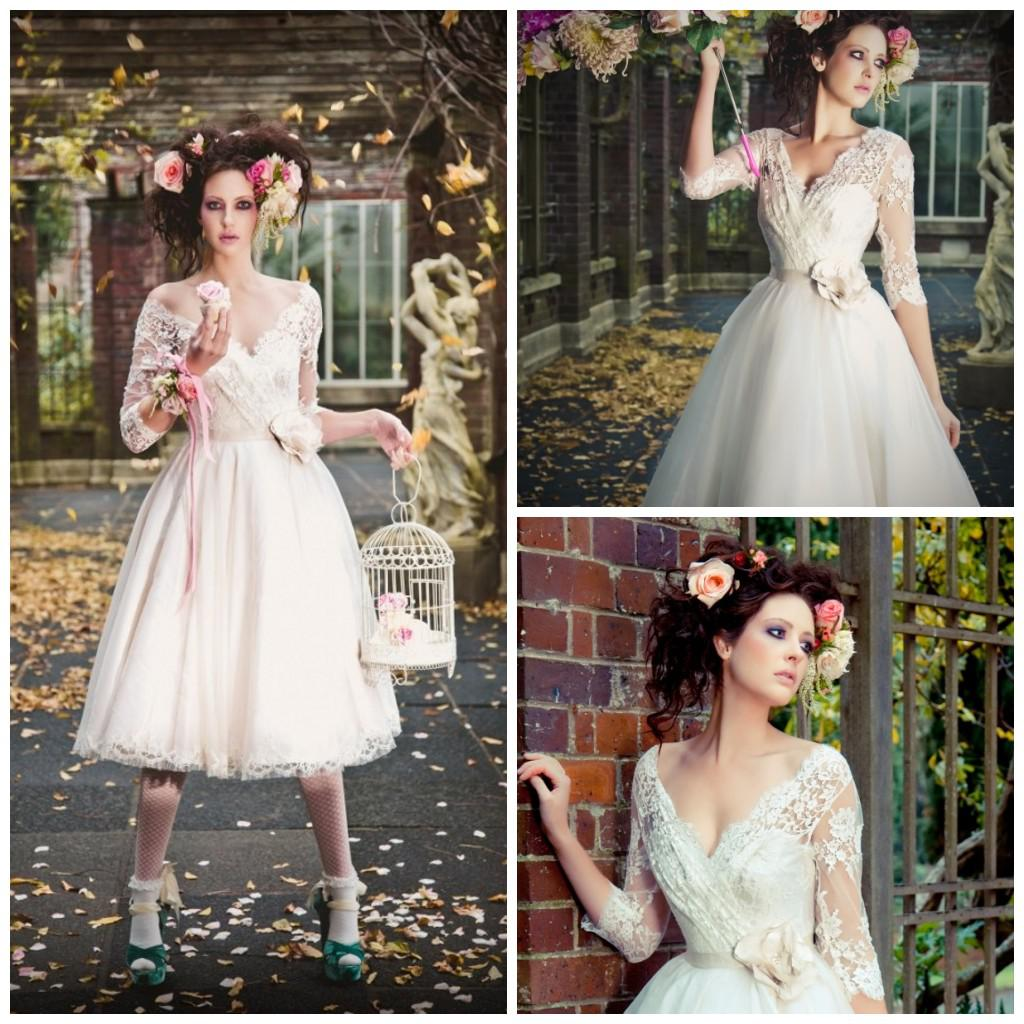 Simple Elegant Tea Length Chiffon Cap Sleeve Wedding: Discount V Neck Cap Sleeves Tulle Tea Length Tulle