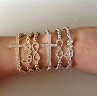 Wholesale Gold Tone Bracelet Cross - Silver Gold metal tone Alloy Sideways Sideway Cross Infinity Love Charms Bracelet With Rhinestone Crystal adjustable bracelet bangle womenZY