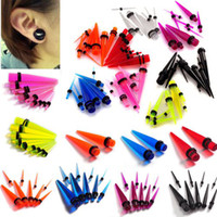 Wholesale Ear Taper Sets - 144pcs Acrylic Ear Plug Taper Gauges Expander Set Stretchers Piercing 1.6mm-10mm [BC73(18)*8]