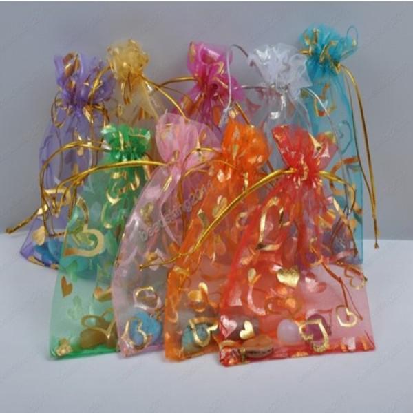 200 stks Mix Sieraden Doos Luxe Organza Sieraden Pouches Geschenken Tassen Voor Ring Bruiloft Favoriet Tassen Pouch met Lief Hart