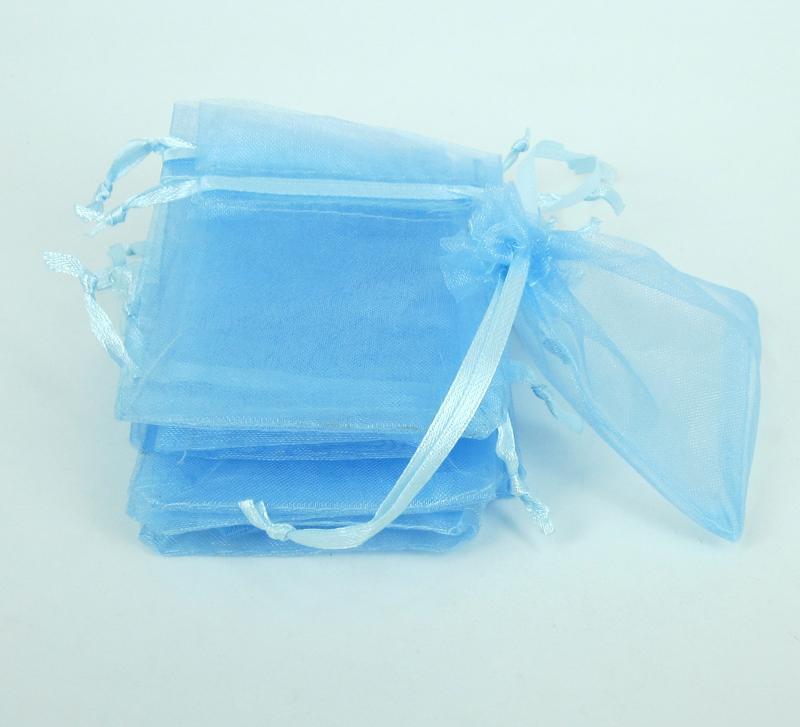 céu azul Caixa de Jóias de luxo Organza Jóias Bolsas Sacos de presente para favores do casamento, sacos bolsa com cordão de cetim fita