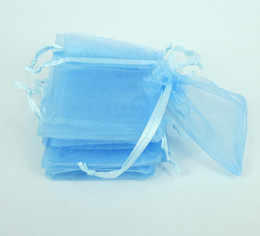 Wholesale Organza Ribbon Gift Box - 200pcs sky blue Jewelry Box Luxury Organza Jewelry Pouches Gift Bags For Wedding favours, Bags Pouch with drawstring satin ribbon