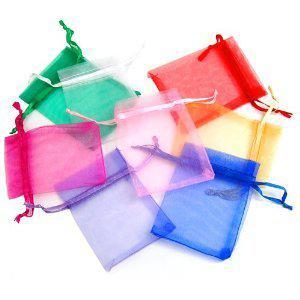 mixte boîte à bijoux de luxe en organza anneau boucle d'oreille bijoux sacs cadeau sacs pour faveurs de mariage sacs pochette avec ruban de satin cordon