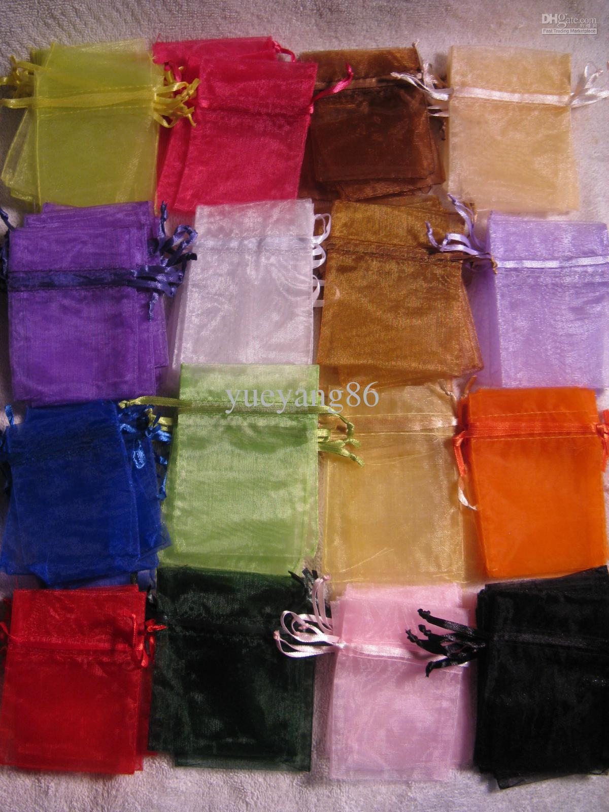 Mixed Caixa de Jóias de Luxo Organza Anel Brinco Jóias Bolsas Sacos De Presente Para O Casamento favores Sacos Bolsa com cordão fita de cetim