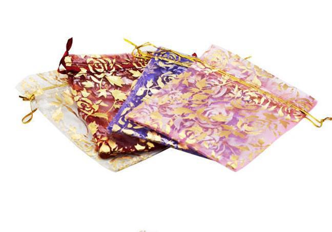 200 unids mezclado 94 * 120mm joyería de Organza pulsera artesanía bolsas bolsas de regalo para la boda favorece bolsas bolsa con la hoja de arce DIY