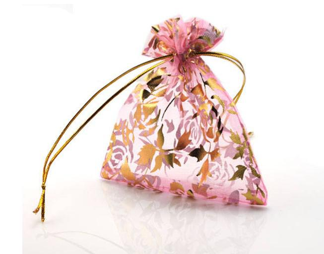 pink colour 94*120mm Organza Jewelry bracelet crafts Pouches Gift Bags For Wedding favours Bags Pouch with maple leaf DIY