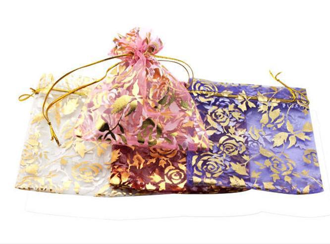 200 stks gemengd 94 * 120mm organza sieraden armband ambachten pouches geschenk tassen voor bruiloft gunsten tassen zakje met esdoorn blad DIY