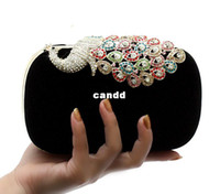 Wholesale Studded Bag Free Shipping - New Boutique Evening Bag, Peacock Diamond-Studded Handbags, Fashion Clutch Bag, Velour Shoulder Bag NO03316 Free Shipping
