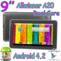 Wholesale 3g Camera Usa - 50pcs Allwinner A20 Boxchip 9 Inch Dual Core Multi Capacitive Touch WIFI Play Store Dual Camera Tablet PC 8GB White Black USA Free Shipping