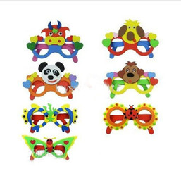 Wholesale 3d Stickers Puzzles - Kids DIY Craft Kits EVA Foam Glasses 3D Puzzle Stickers Cartoon animals Mask Party Favor Supply