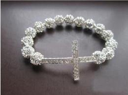 Wholesale Wholesale Honesty Bracelets - New Rhinestones Ball Silver Honesty Bracelet,Handmade Side Ways Cross Sideway Cross Bracelet Jewelry