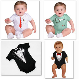 Wholesale jumpsuits shirts bodysuit - free shipping wholesale baby rompers costume newborn one-pieces romper shirts baby short sleeve bodysuit jumpsuit babywear tuxedo D13