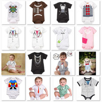 Wholesale New Baby Boy Tuxedo - 2013 new arrival newborn bodysuit tuxedo baby boy one-pieces romper short sleeve rompers jumpsuit cotton shortalls baby overall D11