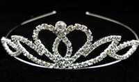 ingrosso corone di spettacolo di qualità-Crown tiaras Christmas pageant princess birthday wedding / party alta qualità cristallo argento tiara corona
