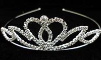 hochwertige köder kronen großhandel-Krone Diademe Weihnachten Festzug Prinzessin Geburtstag Hochzeit / Party hochwertige Kristall Silber Tiara Krone
