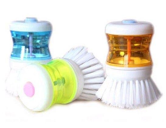 30 Pçs / lote + Palm Prato Escova De Plástico Automático Adicionar Limpa Líquido Ferramenta De Lavar / Escova Do Prato