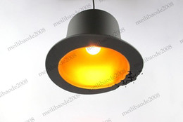 Wholesale Ce Hat - design 110v 220v e27 lamp holder Jeeves & Wooster Top Hat Pendant Lights aluminum hat light for home Outside Black Inside Golden MYY5047