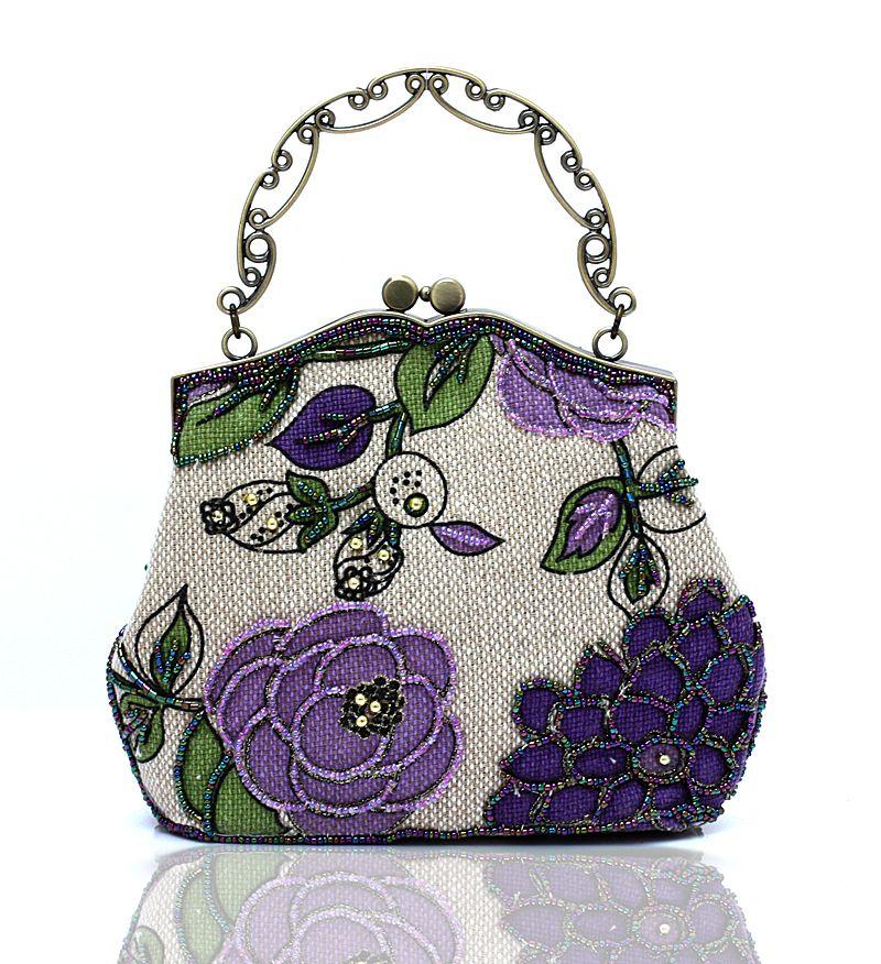 New Handmade Ladiesu0026#39; Vintage Style Elegant Beaded Flower Handbag Fashion Evening Dress Bag For ...