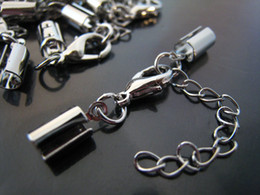 Wholesale Cord Ends Caps Crimp - Charms! 100Sets Silver Tone Adjustable Crimps Tone Round Fold Over Cord Ends Cap Cords With Lobster Clasp Finding