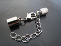 Wholesale Ends Buckle Cap - Finding - 100Sets Silver Tone Round Leather Cord Ends Cap With Lobster Clasp Buckle and Extender ( Inside 5mm Diameter )