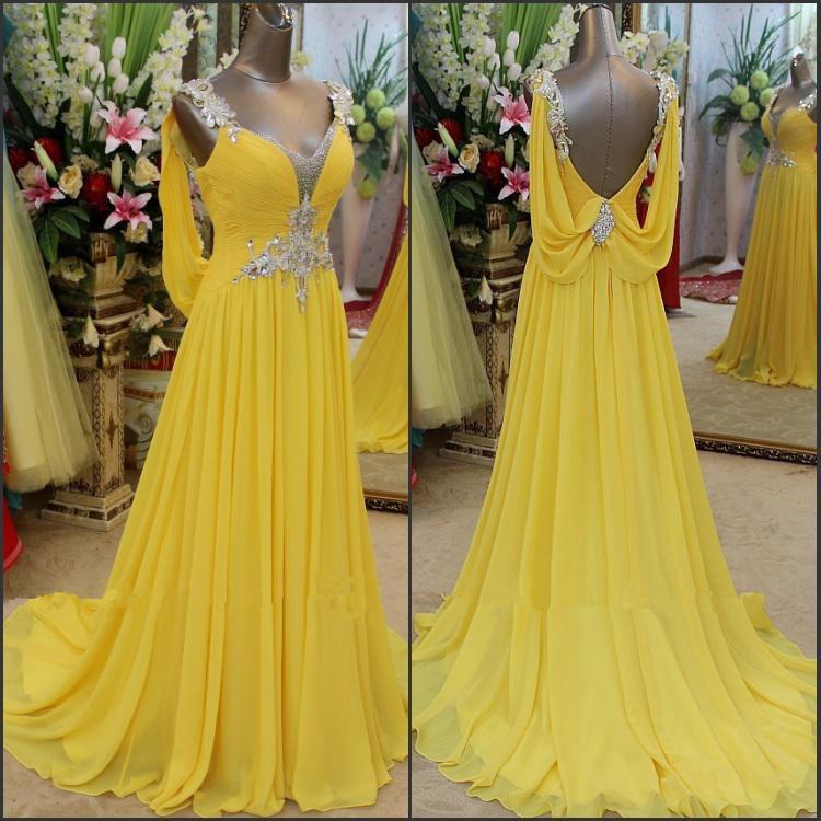 Hot Sellingl!!Amazing 2013 Exquisite A-Line Yellow Chiffon Ruffles Crystals V-Neck Zipper Back Evening Dresses
