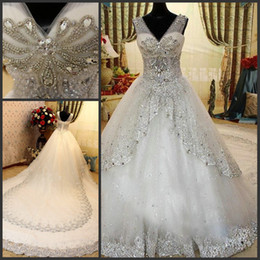 Wholesale Lace Bling Rhinestones - Luxury Rhinestone Wedding Dresses Bling Bling Beaded Crystal V-neck Sheer Straps Sweep White Lace Glitter Bridal Gown Dresses