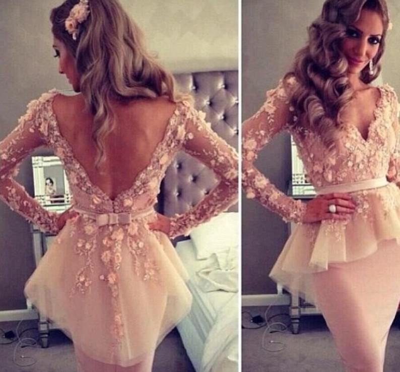 Myriam Fares Sheath V Neck Short Lace Appliqued Backless Tulle Cocktail Length Celebrity Dresses with Peplum and Long Sleeves dhyz 01