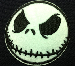 Wholesale Applique Iron Patch Christmas - Wholesale~10 Pieces Cartoon Nightmare before Christmas Jack (6 x 6cm) Kids Patch Embroidered Iron On Applique Patch Punk Patch