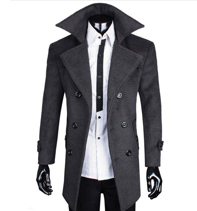 2018 2013 New Men's Long Section Of Double Breasted Wool Coat ...